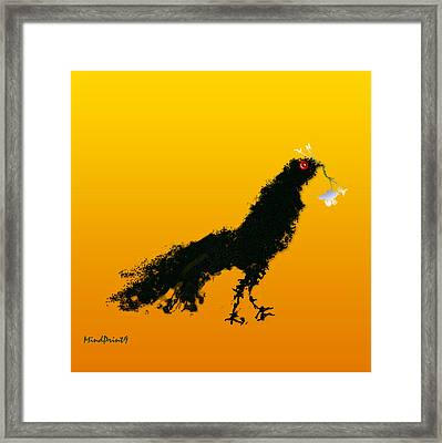 Framed Print featuring the digital art Flower Bird by Asok Mukhopadhyay