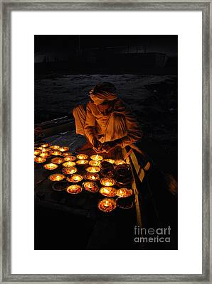 Flower Ceremony On The Ganges River Framed Print