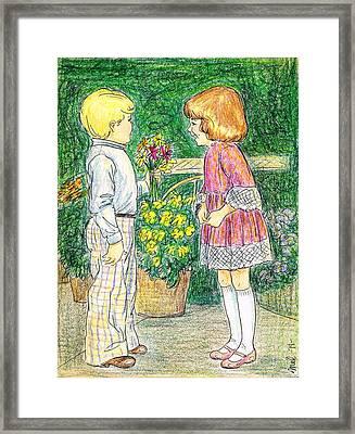 Flower Children Framed Print by Mel Thompson