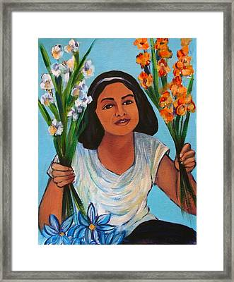 Flower Girl-day Of The Dead Framed Print