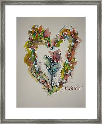 Flower Heart Song Framed Print by Edward Wolverton