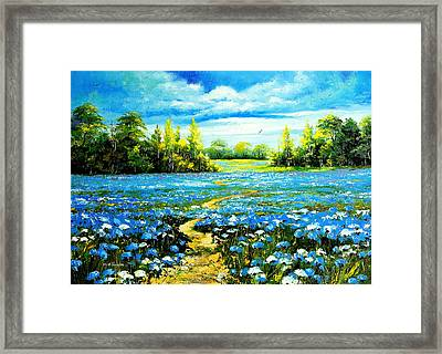 Flower Path Way Framed Print by Nelsons