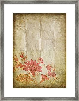 Flower Pattern On Old Paper Framed Print by Setsiri Silapasuwanchai