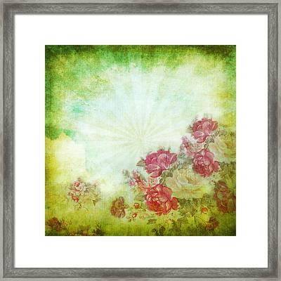Flower Pattern On Paper Framed Print by Setsiri Silapasuwanchai
