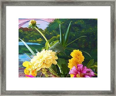 Flower River Island Framed Print by Judy Via-Wolff