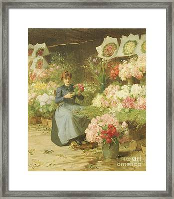 Flower Seller In Front Of The Madeleine Church Framed Print by Victor Gabriel Gilbert