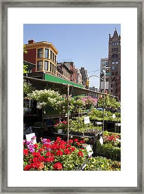 Flower Stalls In Urban Farmers Market Framed Print by Patti McConville