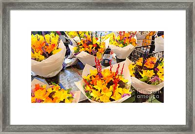 Flower Vendor Pikes Place Public Market Seattle Wa Usa Framed Print by Andy Smy