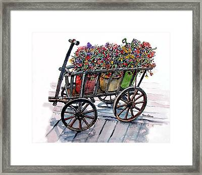 Framed Print featuring the painting Flower Wagon by Terry Banderas