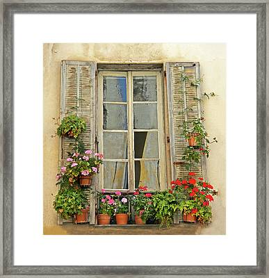 Framed Print featuring the photograph Flower Window Provence France by Dave Mills