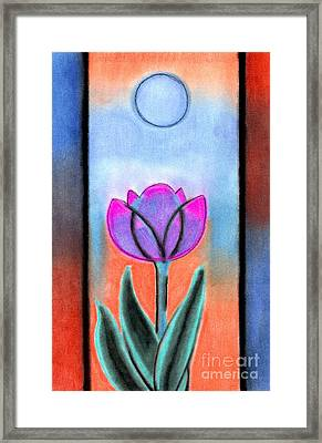Framed Print featuring the pastel Flower With Blue Moon by Christine Perry
