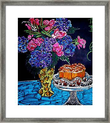 Flowers And Cake Framed Print