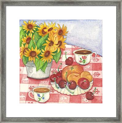 Flowers And Fruit Framed Print