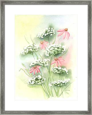 Flowers And Lace Framed Print by Susan Mahoney