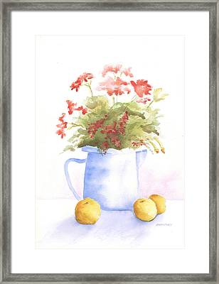 Flowers And Lemons Framed Print by Susan Mahoney