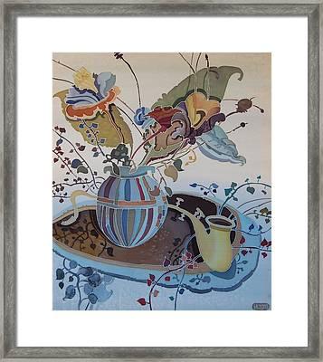 Flowers And Saxophone Framed Print by Irina Dorofeeva
