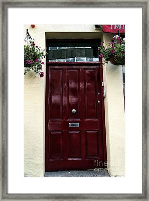 Flowers By The Door Framed Print by John Rizzuto