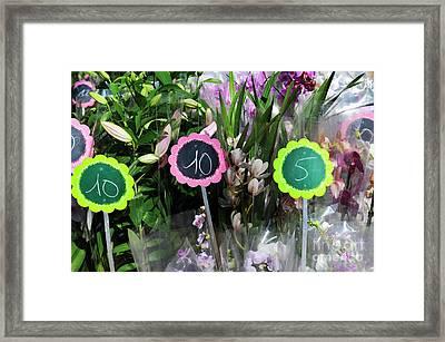Flowers For Sale At Market Framed Print by Sami Sarkis
