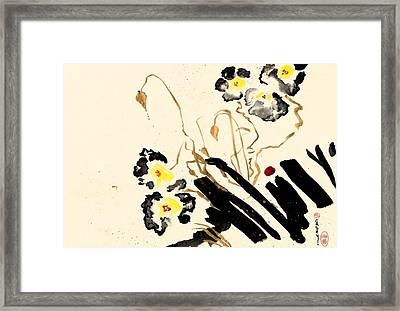 Flowers Grey Framed Print