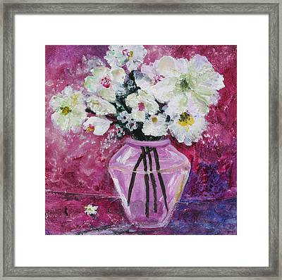 Flowers In A Magenta Room Framed Print by Marilyn Woods