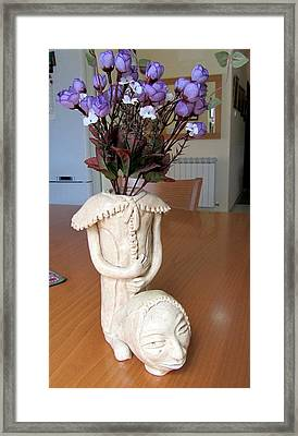 Flowers In My Head  Ceramic Vase Sculpture Of A Lady With A Removable Head Shoulder Pads Hands Face Framed Print by Rachel Hershkovitz