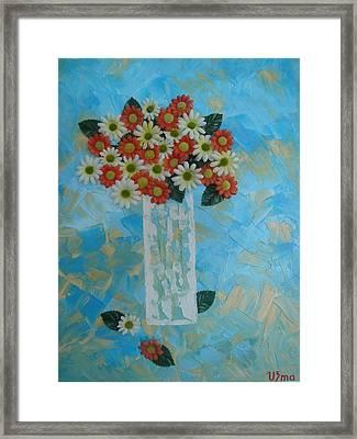 Flowers In Vase Framed Print by Modern  Palette Art
