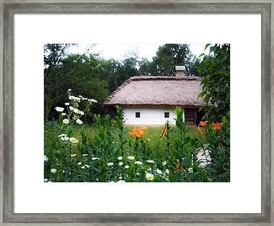Flowers Near Rural House Framed Print by Aleksandr Volkov