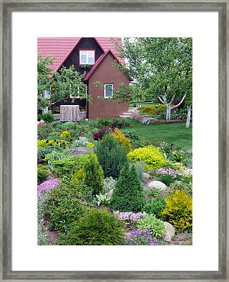 Framed Print featuring the photograph Flowers Near The Rural House by Aleksandr Volkov