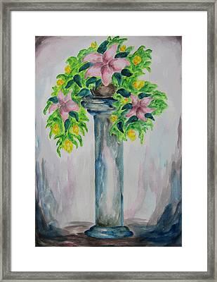 Flowers On A Pedestal - Wcs Framed Print by Cheryl Pettigrew