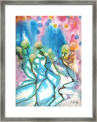 Flowers On Ice Framed Print