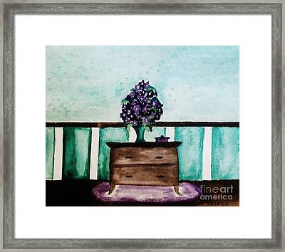 Flowers On My Dresser Framed Print by Marsha Heiken