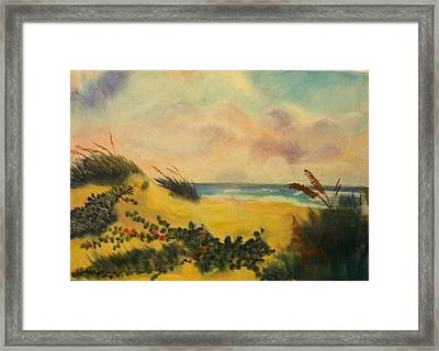 Flowers On The Beach Framed Print by Karel Thome