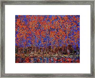 Flowers Over The City. New York Framed Print by Andrey Soldatenko