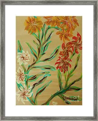 Flowers That Look Like Old Fashioned Wallpaper Framed Print by Marie Bulger
