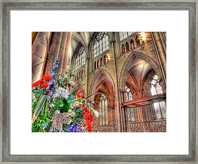 Flowers York Minster - Hdr Framed Print by Colin J Williams Photography