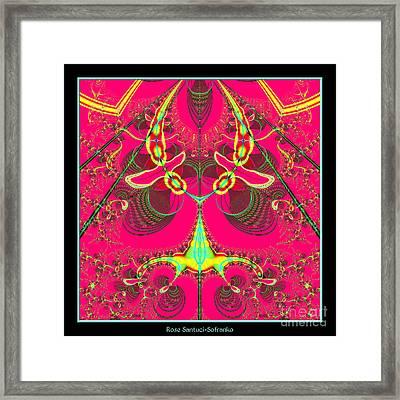 Fluorescent Alien Lady Bug Fractal 70 Framed Print by Rose Santuci-Sofranko