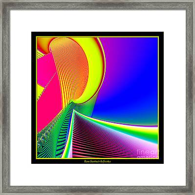 Fluorescent Boat And Giant Wave Fractal 95 Framed Print by Rose Santuci-Sofranko
