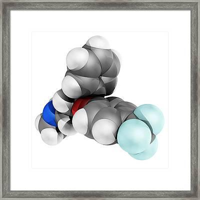 Fluoxetine Antidepressant Drug Molecule Framed Print by Laguna Design