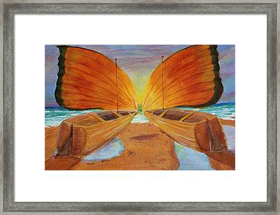 Framed Print featuring the painting Fly Away Sunset by Christie Minalga