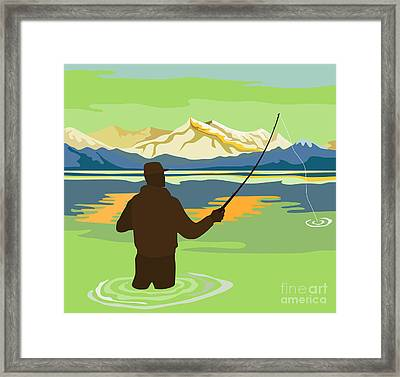Fly Fisherman Rod And Reel Retro Framed Print by Aloysius Patrimonio