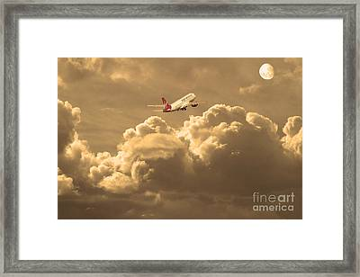 Fly Me To The Moon . Partial Sepia Framed Print by Wingsdomain Art and Photography