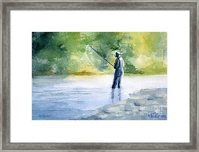 Framed Print featuring the painting Flyfishing by Eleonora Perlic
