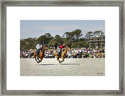 Flying At The Marsh Tacky Races Framed Print by Phill Doherty