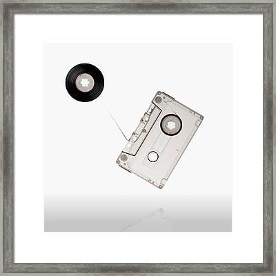 Flying Audio Cassette Framed Print