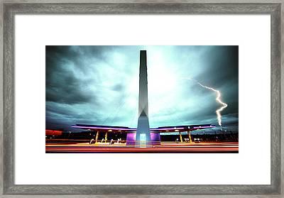 Flying Fuelstation - Lightning Edt. Framed Print by Thomas Splietker