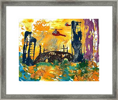 Flying Helicopters Over Turbulent Waters Framed Print