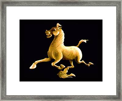 Framed Print featuring the painting Flying Horse by Ginny Schmidt