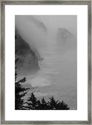 Framed Print featuring the photograph Fog And Cliffs Of The Oregon Coast by Mick Anderson