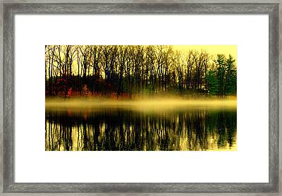 Fog At  Farrington Lake Framed Print by Aron Chervin