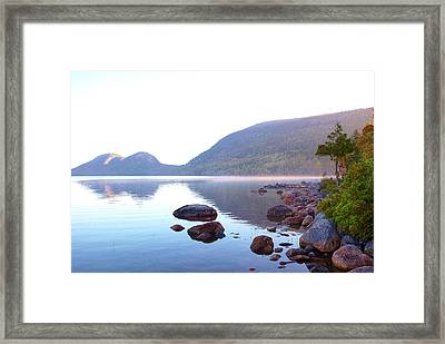 Fog Lifting Over Jordan Pond Framed Print by Thomas Northcut